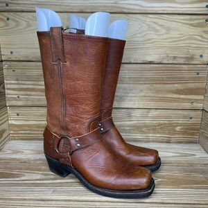 Frye Leather Harness Square Toe Western Boot